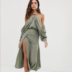 ASOS drape ring dress, US 4, khaki